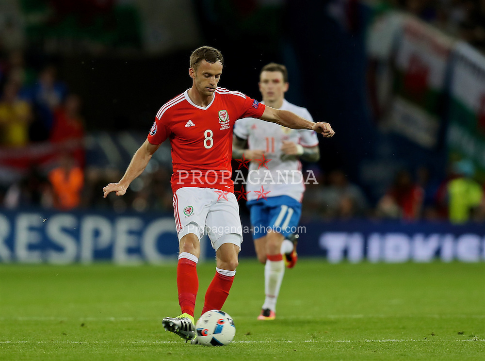 TOULOUSE, FRANCE - Monday, June 20, 2016: Wales' Andy King in action against Russia during the final Group B UEFA Euro 2016 Championship match at Stadium de Toulouse. (Pic by David Rawcliffe/Propaganda)