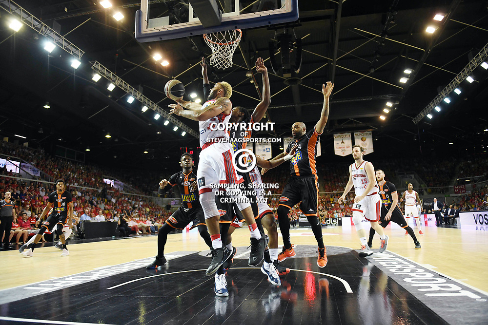 Zack Wright of Strasbourg and Mykal Riley of Le Mans during the Jeep Elite match between Strasbourg and Le Mans on June 2, 2018 in Strasbourg, France. (Photo by Sebastien Bozon/Icon Sport)