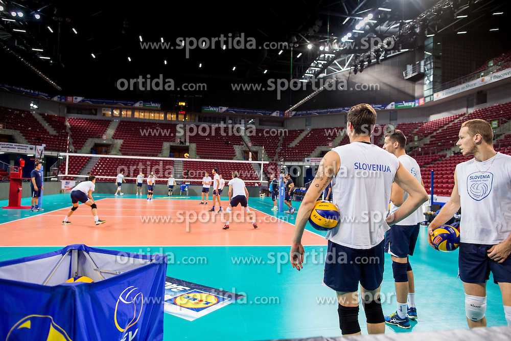 Dejan Vincic #9 of Slovenia,, Jan Kozamernik #10 of Slovenia, Tine Urnaut #17 of Slovenia during practice session of Slovenian team in the morning of Final day of  2015 CEV Volleyball European Championship - Men, on October 18, 2015 in Arena Armeec, Sofia, Bulgaria. Photo by Vid Ponikvar / Sportida