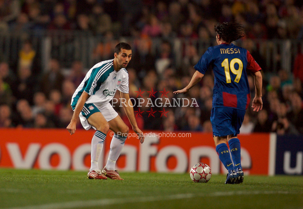 Barcelona, Spain - Wednesday, February 21, 2007: Liverpool's Alvaro Arbeloa in action against FC Barcelona during the UEFA Champions League First Knockout Round 1st Leg match at the Nou Camp. (Pic by David Rawcliffe/Propaganda)