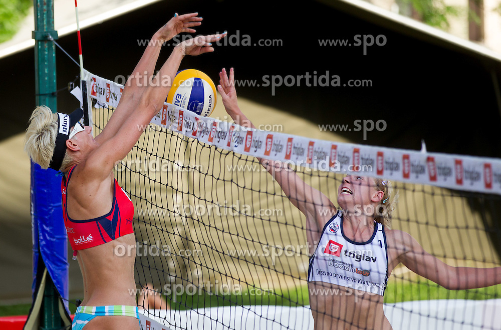 Andreja Vodeb vs Marina Crnjac during Slovenian National Championship in beach volleyball Kranj 2012, on June 29, 2012 in Kranj, Slovenia. (Photo by Vid Ponikvar / Sportida.com)
