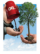 Cap on Industry Emissions, Trade the Unused Portion of Emissions Limit. 3D and Photoshop for Canadian Lawyer Magazine.