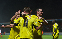 STEVENAGE, ENGLAND - Saturday, November 24, 2012: Tranmere Rovers' players congratulate Adam McGurk after he set up the opening goal against Stevenage during the Football League One match at Broadhall Way. (Pic by David Rawcliffe/Propaganda)