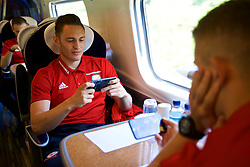 RUNCORN, ENGLAND - Tuesday, May 22, 2018: Wales' Connor Roberts travel by train as the squad heads to Heathrow for a flight to Los Angeles ahead of the international friendly match against Mexico. (Pic by David Rawcliffe/Propaganda)