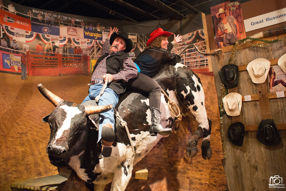 Russell and Julie Abendroth from Fort Worth pose for a photo on a bull before Holy Moly performs at Billy Bob's Texas in Fort Worth, Texas on December 13, 2012.  (Stan Olszewski/The Dallas Morning News)