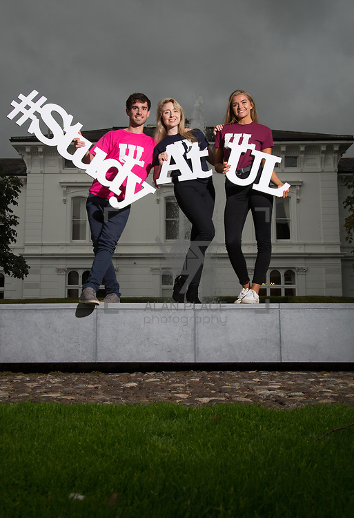 06.09. 2017.                             <br /> #Study at UL<br /> Students promoting The University of Limericks #Study at UL campaign. <br /> Pictured are, Shane O'Hara, Technology Management, Ellen Brasseur, Food Science and Health and Laura Cotter, English and New Media. Picture: Alan Place