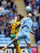 Coventry - Saturday, March 8th, 2008: Leon Best of Coventry City and Darel Russell of Norwich City during the Coca Cola Championship match at the Ricoh Arena, Coventry. (Pic by Paul Hollands/Focus Images)