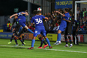 AFC Wimbledon Finlay Macnab (34) scoring goal to make it 1-1 during the Pre-Season Friendly match between AFC Wimbledon and Crystal Palace at the Cherry Red Records Stadium, Kingston, England on 30 July 2019.