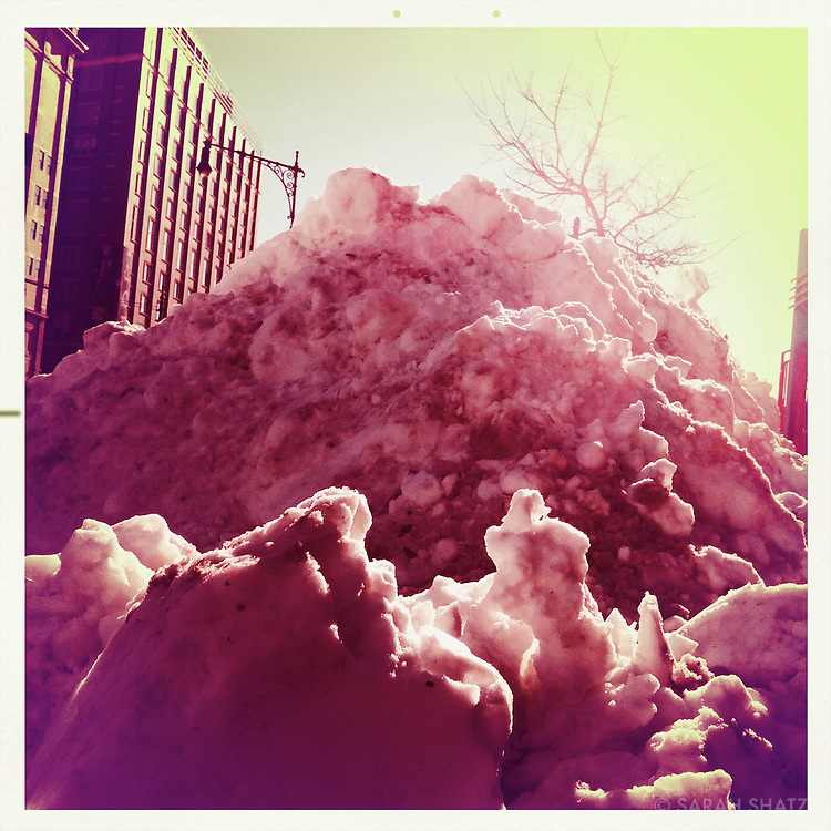 Snow mound, near Chelsea Piers