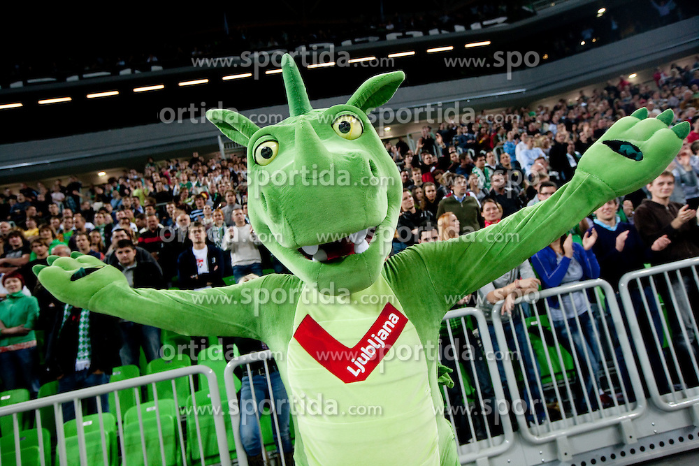 Dragon, mascot of Olimpija during basketball match between KK Union Olimpija (SLO) and Efes Pilsen (Tur) in Group D of Turkish Airlines Euroleague, on October 20, 2010 in SRC Stozice, Ljubljana, Slovenia. Union Olimpija defeated Efes Pilsen after 2 overtimes 95 - 90.(Photo By Vid Ponikvar / Sportida.com)