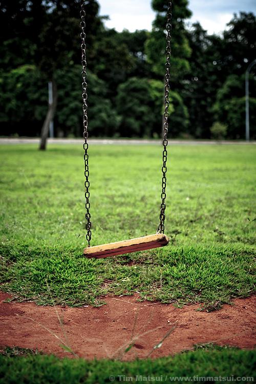 Empty swingset in a park.