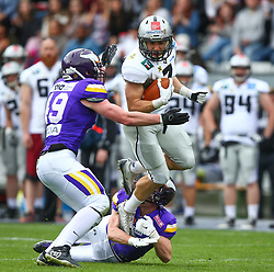 01.04.2017, Tivoli Stadion, Innsbruck, AUT, AFL, Swarco Raiders Tirol vs Dacia Vikings Vienna, im Bild Alexander Watholowitsch (Dacia Vikings Vienna, #49, LB), Christoph Gombkoetoe (Dacia Vikings Vienna, #9, DB) und Sandro Platzgummer (Swarco Raiders Tirol, #7, RB) // during the Austrian Football League game between Swarco Raiders Tirol and Dacia Vikings Vienna at the Tivoli Stadion, Innsbruck, Austria on 2017/04/01. EXPA Pictures © 2017, PhotoCredit: EXPA/ Thomas Haumer