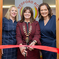 Tracie Tobin Chair of Bedford Row, Mayor of Ennis Clare Colleran Molloy and Leanne Purcell Project Leader Bedford Row cut the ribbon at the launch of Bedford Row