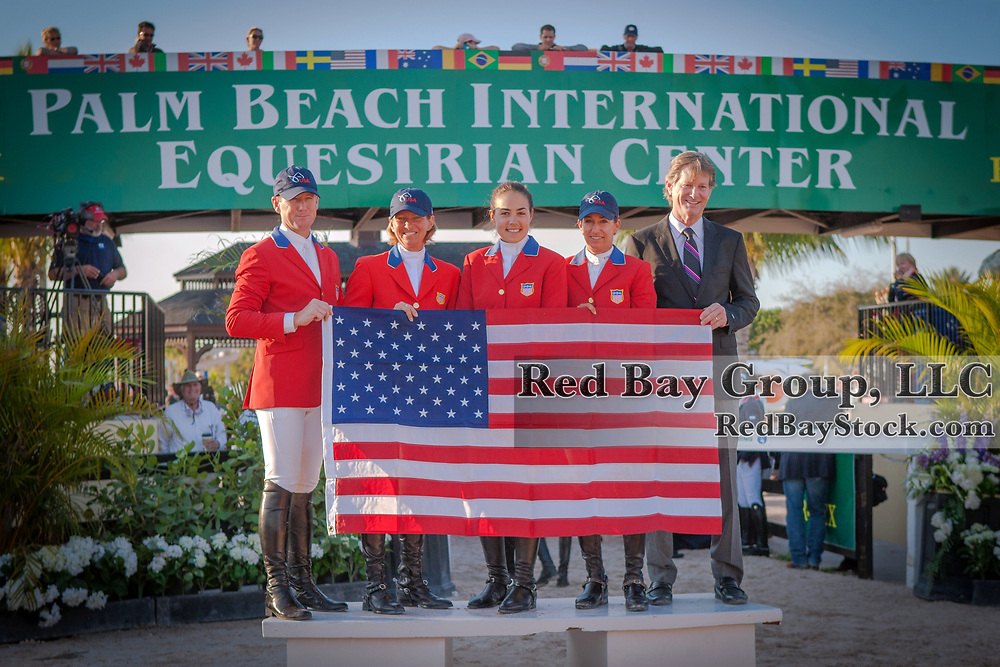 McLain Ward, Beezie Madden, Brianne Goutal, Laura Kraut and Robert Ridland representing Team USA at the 2014 Furusiyya FEI Nations Cup held during the Winter Equestrian Festival in Wellington, Florida.