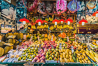 Causeway Bay, Hong Kong - June 4, 2014: tropical fruit market shop stall