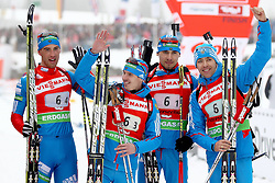 11.12.2011, Biathlonzentrum, Hochfilzen, AUT, E.ON IBU Weltcup, 2. Biathlon, Hochfilzen, Staffel Herren, im Bild Jubel bei den Zweiten Malyshko Dmitry (Team Russia) Ustyugov Evgeny (Team Russia) Shipulin Anton (Team Russia) Makoveev Andrei (Team Russia) // during Team Relay  E.ON IBU World Cup 2th Biathlon, Hochfilzen, Austria on 2011/12/11. EXPA Pictures © 2011. EXPA Pictures © 2011, PhotoCredit: EXPA/ nph/ Straubmeier..***** ATTENTION - OUT OF GER, CRO *****