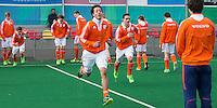ROTTERDAM -  Warming Up Netherlands.  Practice Match  Hockey : Netherlands Boys U16  v England U16 . COPYRIGHT KOEN SUYK