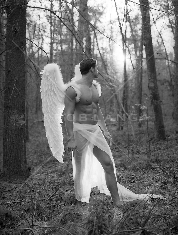 Male Angel standing in a forest with sunlight coming in through the trees