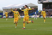 Millwall's Lee Gregory(9) scores a goal 0-1 and celebrates during the EFL Sky Bet League 1 match between Bristol Rovers and Millwall at the Memorial Stadium, Bristol, England on 30 April 2017. Photo by Shane Healey.