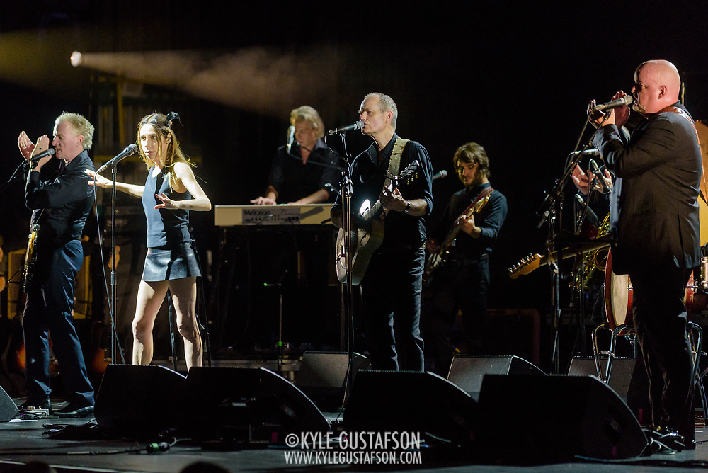 VIENNA, VA - July 21st, 2017 - PJ Harvey (second from left) performs at the Filene Center at Wolf Trap in Vienna, VA. A trip to Washington, D.C. in 2016 inspired much of Harvey's latest album, The Hope Six Demolition Project. (Photo by Kyle Gustafson / For The Washington Post)