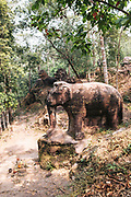 Carved elephnant and lions from 9th century on Kulen Mountain