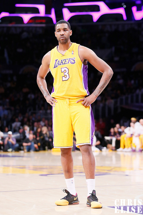 11 February 2014: Los Angeles Lakers power forward Shawne Williams (3) rests during the Utah Jazz 96-79 victory over the Los Angeles Lakers at the Staples Center, Los Angeles, California, USA.