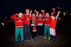 CARDIFF, WALES - Monday, October 9, 2017: Five young Wales supporter outside the stadium before the 2018 FIFA World Cup Qualifying Group D match between Wales and Republic of Ireland at the Cardiff City Stadium. (Pic by Paul Greenwood/Propaganda)