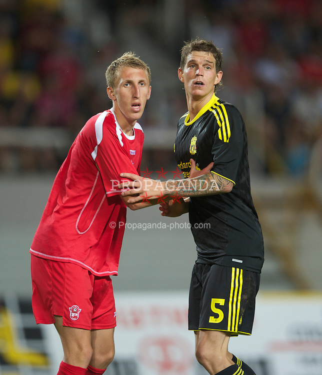 SKOPJE, MACEDONIA - Thursday, July 29, 2010: Liverpool's Daniel Agger in action against FK Rabotnicki during the UEFA Europa League 3rd Qualifying Round 1st Leg match at the National Arena Filip II Stadium. (Pic by David Rawcliffe/Propaganda)