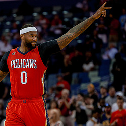 Apr 4, 2017; New Orleans, LA, USA; New Orleans Pelicans forward DeMarcus Cousins (0) against the Denver Nuggets prior to tip off of the first quarter of a game at the Smoothie King Center. Mandatory Credit: Derick E. Hingle-USA TODAY Sports