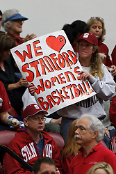 February 24, 2011; Stanford, CA, USA;  A Stanford Cardinal fan holds up a sign in support of the women's basketball team during the first half against the Oregon State Beavers at Maples Pavilion.  Stanford defeated Oregon State 73-37.