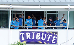The Somerset players celebrate on the balcony after victory against Nottinghamshire by 2 wickets. - Photo mandatory by-line: Harry Trump/JMP - Mobile: 07966 386802 - 17/06/15 - SPORT - CRICKET - LVCC County Championship - Division One - Day Four - Somerset v Nottinghamshire - The County Ground, Taunton, England.