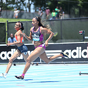 Natasha Hastings, USA, in action in Women's 400m competition during the Diamond League Adidas Grand Prix at Icahn Stadium, Randall's Island, Manhattan, New York, USA. 13th June 2015. Photo Tim Clayton