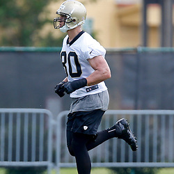 May 23, 2013; New Orleans, LA, USA; New Orleans Saints tight end Jimmy Graham (80) during organized team activities at the Saints training facility. Mandatory Credit: Derick E. Hingle-USA TODAY Sports1