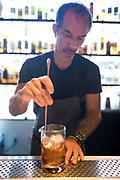 The Lexington House Owner Stephen Shelton prepares a cocktail at The Lexington House in Los Gatos, California, on September 4, 2018. (Stan Olszewski/SOSKIphoto)