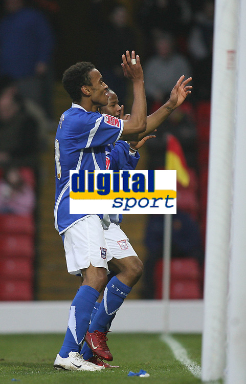 Photo: Marc Atkins.<br /> Watford v Ipswich Town. The FA Cup. 17/02/2007. Danny Haynes & Jaime Peters of Ipswich dance on the touchline despite not realising the goal has been disallowed.