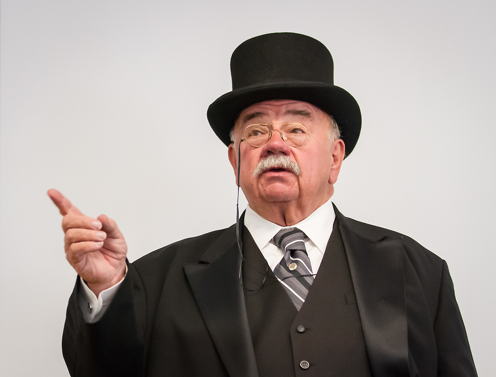 Don Moon portrays and explains the life of President Theodore Roosevelt to students at Custer County Schools.