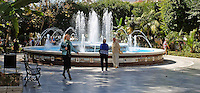 Fountain, public garden, park, town centre, Marbella, Spain, March 2015, 201503130543<br />
