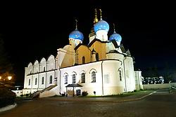 June 24, 2017 - Vista da Catedral Ortodoxa de Kazan (Russian Orthodox Blagoveschensky Annunciation Cathedral) localizada no complexo arquitetônico e histórico do Kremlin de Kazan, cidadela histórica principal do Tartaristão, declarado Património Mundial pela UNESCO em 2000. Combina harmoniosamente elementos da Igreja Ortodoxa Oriental e da cultura Islâmica às margens do rio Volga, neste sábado, 24. A cidade é uma das 4 sedes da Copa das Confederações FIFA 2017 na Russia. (Credit Image: © Heuler Andrey/Fotoarena via ZUMA Press)