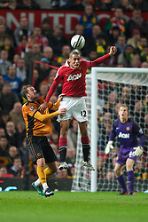MANCHESTER, ENGLAND - Tuesday, October 26, 2010: Manchester United's Chris Smalling in action against Wolverhampton Wanderers during the Football League Cup 4th Round match at Old Trafford. (Pic by: David Rawcliffe/Propaganda)