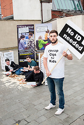 Left to right  Michael McDonnell, Oli Longland, Dominic McDonnell and Howard Long help Launch the campaign against the use of Illegal Tobacco in Tudor Square, Sheffield on Tuesday<br /> <br /> 11 November 2014<br /> Image © Paul David Drabble <br /> www.pauldaviddrabble.co.uk