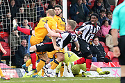 Grimsby Town defender Nathan Clarke (5) shoots at goal  during the EFL Sky Bet League 2 match between Grimsby Town FC and Port Vale at Blundell Park, Grimsby, United Kingdom on 10 March 2018. Picture by Mick Atkins.