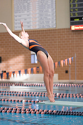 Virginia's Jackie Apple dives off the 1m board against Duke -- Apple finished 3rd in the competition.  Both Men's and Women's teams defeated the Duke University Blue Devils - the Cavalier men won 126-100, while the women won 126.5-110.5.