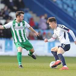 TELFORD COPYRIGHT MIKE SHERIDAN 30/3/2019 - Ryan Barnett of AFC Telford (on loan from Shrewsbury Town Football Club) during the Vanarama National League North fixture between AFC Telford United and Blyth Spartans at the New Bucks Head.