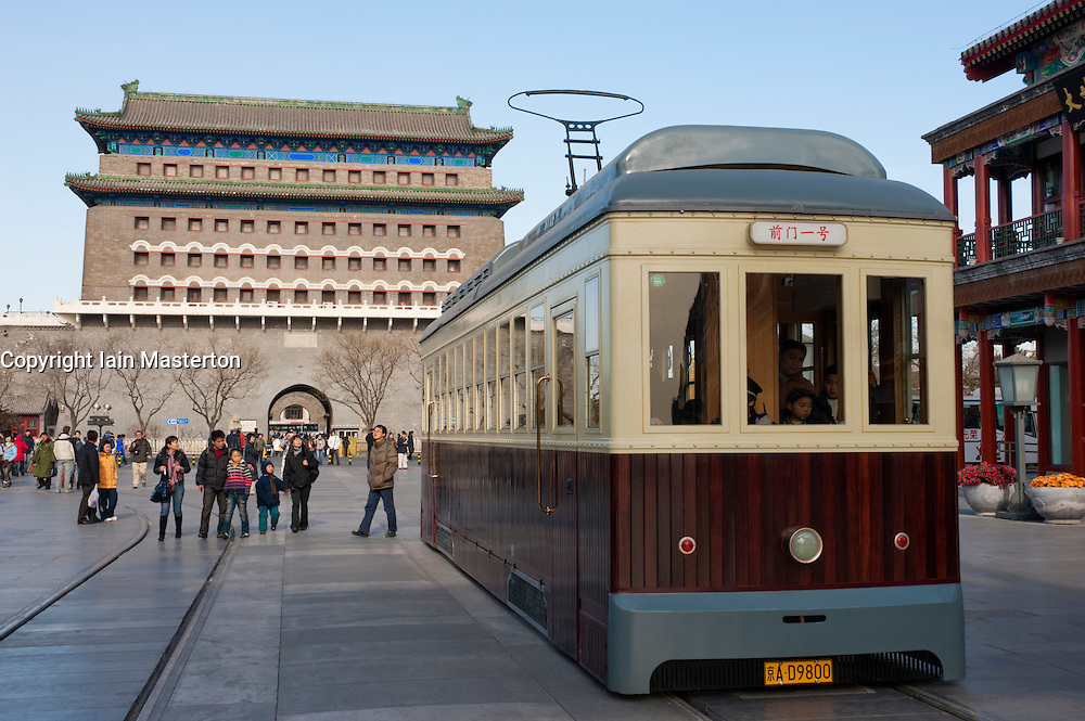Tourist tram on historic themed tourist street at Qianmen in central Beijing China