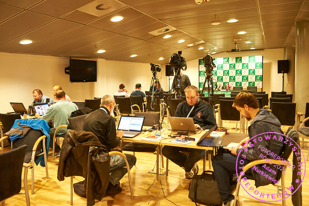 Journalists work in media area during Davis Cup Tie World Group Play-off Poland v Slovakia at Gdynia Arena Hall in Gdynia, Poland.<br /> <br /> Poland, Gdynia, September 18, 2015<br /> <br /> Picture also available in RAW (NEF) or TIFF format on special request.<br /> <br /> For editorial use only. Any commercial or promotional use requires permission.<br /> <br /> Adam Nurkiewicz declares that he has no rights to the image of people at the photographs of his authorship.<br /> <br /> Mandatory credit:<br /> Photo by &copy; Adam Nurkiewicz / Mediasport