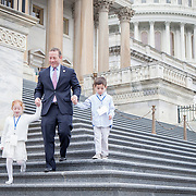 Representative Josh Gottheimer (D-NJ, 15) leaves the U.S. Capitol with his daughter, Ellie and son, Ben, on his way to his new office on Wednesday January 3, 2017.  Rep. Gottheimer was officially sworn into the House of Representatives earlier in the day. John Boal photo/for The Record