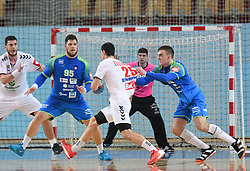 Matic Suholeznik, Nik Henigman of Slovenia and Nemanja Zelenovic of Serbia during friendly handball match between Slovenia and Srbija, on October 27th, 2019 in Športna dvorana Lukna, Maribor, Slovenia. Photo by Milos Vujinovic / Sportida