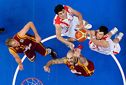 Giorgi Shermadini of Georgia and Nikoloz Tskitishvili of Georgia vs Todor Gechevski and Pero Antic of Macedonia during basketball game between National basketball teams of  Georgia and Former Yugoslav Republic of Macedonia at FIBA Europe Eurobasket Lithuania 2011, on September 8, 2011, in Siemens Arena,  Vilnius, Lithuania. (Photo by Vid Ponikvar / Sportida)