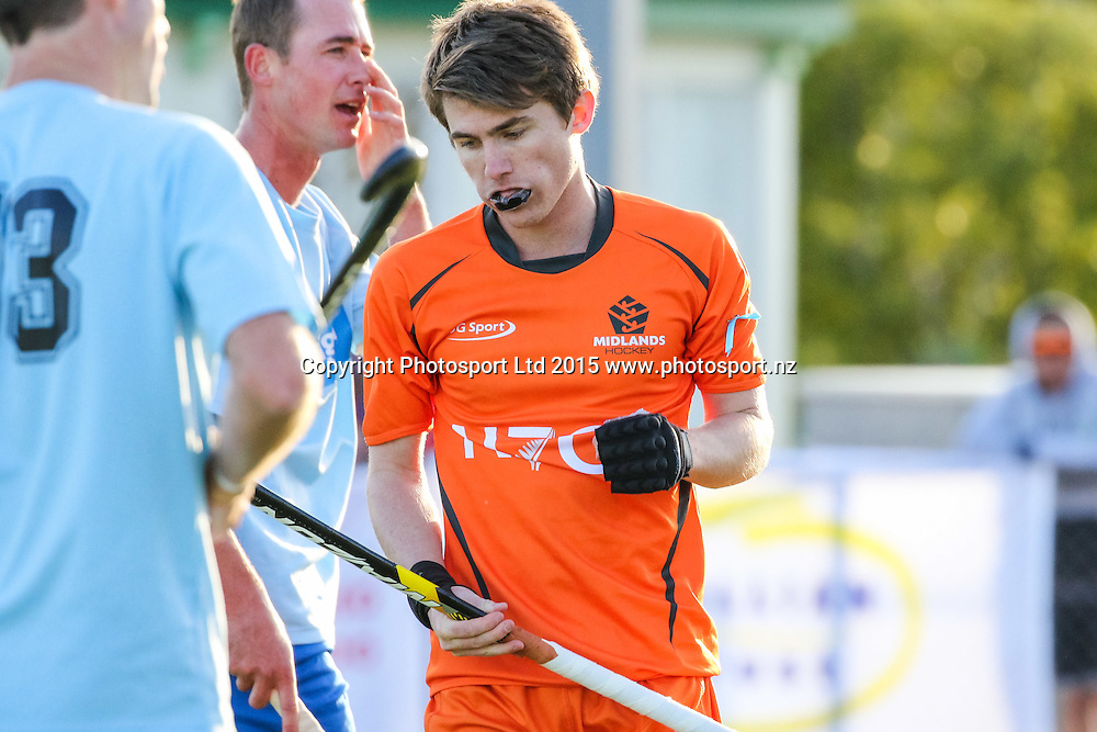 Midlands Ben Tanner fist pumps after scoring. NHL Mens Hockey. Northland v Midlands. Whangarei. New Zealand. 12 September 2015. Copyright Photo: Heath Johnson / www.photosport.nz