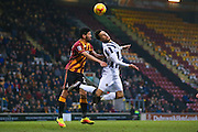 Millwall striker Lee Gregory (9) claims a foul from Bradford City defender Nat Knight-Percival (22) which is not given  during the EFL Sky Bet League 1 match between Bradford City and Millwall at the Northern Commercials Stadium at Valley Parade, Bradford, England on 21 January 2017. Photo by Simon Davies.